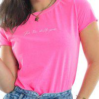Blusa T-Shirt Manga Curta Rosa Fluor