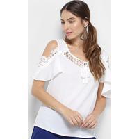 Blusa Open Shoulder Top Moda Com Renda Feminina - Feminino-Branco