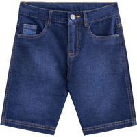 Bermuda Jeans Estonada- Azul Escuro- Kids- Mundimundi