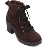 Bota Trivalle Shoes Tratorada Camurça Feminina - Feminino-Marrom