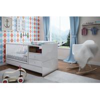 Berço Cama Com Mesa De Cabeceira Branco Completa Móveis