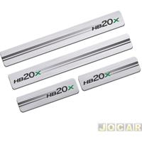 Aplique Da Soleira - Sport Inox - Hb20X 2012 Em Diante 4 Portas - Resina Aço Escovado - Autoadesivo - Jogo - Hy004E4P