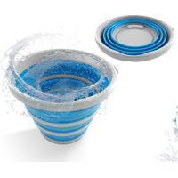Balde Retrátil Dobrável Em Silicone 10 Litros Azul