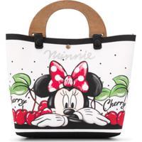 Monnalisa Bolsa Tote Com Estampa Minnie Mouse - Branco