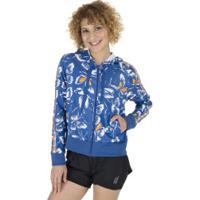 Jaqueta Com Capuz Adidas Farm Print Ht - Feminina - Azul