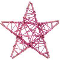 Estrela Decoraçáo Natalina 15X15 Cm Cor Rosa Plástico 1 Peça