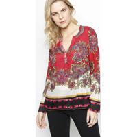 Blusa Arabescos Com Seda- Vermelha & Rosavip Reserva