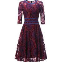 Vestido De Renda Saia Rodada - Vermelho