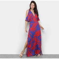Vestido Longo Sommer Estampado Feminino - Feminino-Vermelho+Azul