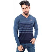 Suéter Rockler Decote V Masculino - Masculino-Azul+Marinho