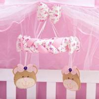 Móbile Berço Bebê Menina Ursa Bailarina Rosa