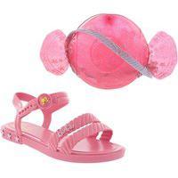 Sandália Infantil Barbie Candy Bag Pink + Bolsa