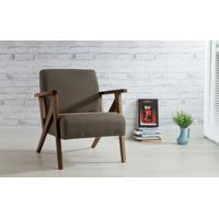 Poltrona De Madeira Decorativa Marrom - Poltrona Confortável Para Sala E Quarto - Verniz Capuccino \ Tec.903 - Anis 72X76X85 Cm
