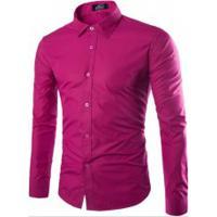 Camisa Social Slim Fit Solid - Rosa Avermelhado