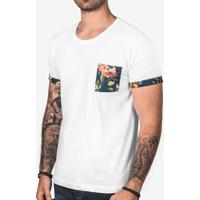 Camiseta Branca Detalhe Floral 102970