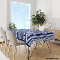 Toalha De Mesa Retangular Para 6 Lugares Abstrato Azul 1.45M X 2.20M Único