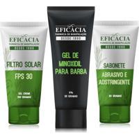 Kit Minoxidil Para A Barba + Protetor Solar + Sabonete Adstringente