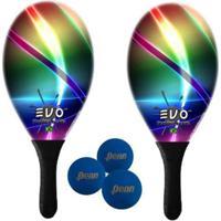 Kit Raquetes Frescobol Evo Fibra Vidro Laser Com 3 Bolas Penn - Unissex