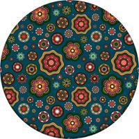 Tapete Love Decor Redondo Wevans Multi Flores Geométricas Multicolorido 84Cm