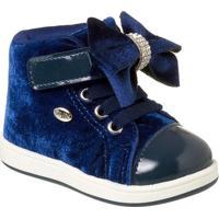 Tênis Infantil Klin Baby Gloss Street Veludo Feminino - Feminino-Azul Royal