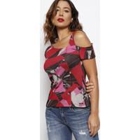 Blusa Canelada Assimã©Trica- Vermelha & Rosa- Forumforum