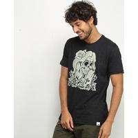 Camiseta Hd Skull Girl Masculina - Masculino-Preto+Cinza