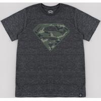 Camiseta Juvenil Super Homem Camuflado Manga Curta Cinza Mescla Escuro