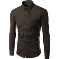 Camisa Social Slim Fit Solid - Marrom