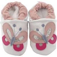 Pantufa Catz Calçados Infantil Couro Nicky Borboleta Feminina - Feminino-Branco+Rosa