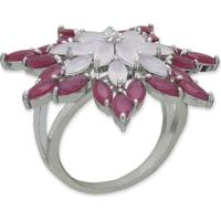 Anel Flor Com Zircônias Rosa E Banho Em Prata Aro 15