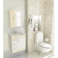 Kit Completo Para Banheiro 60 Cm Com 3 Peças Pratiko Branco E Cerejeira Tomdo