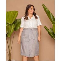 Camisa Almaria Plus Size Pianeta Almaria Tricoline