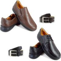 Kit 2 Sapatos Social Enviamix Conforto + 2 Cintos Em Couro Masculino - Masculino