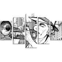 Conjunto De 5 Telas Decorativas Estilo Ilustração Músico Trompete Ny - Montada: 90X160Cm (A-L) Unico