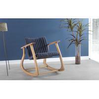 Cadeira De Balanço Smith Matelassê 65X83X72Cm - Verniz Amêndoa \ Tec.997 - Chumbo