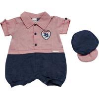 Macacão Soninho Infantil Jeans Com Vermelho