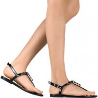 Sandália Zariff Shoes Rasteira Pedrarias Preto