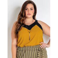 Blusa De Alça Plus Size Amarela E Preta