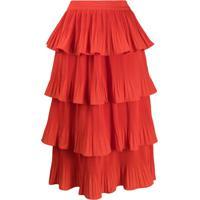 Essentiel Antwerp Vivian Tiered Midi Skirt - Vermelho