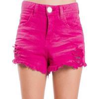 Shorts Sarja Destroyed Used Desfiado Color Colcci - Feminino-Rosa