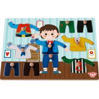Tabuleiro Tooky Toy De Encaixe Veste Menino Em Madeira - Tkg049 - Azul