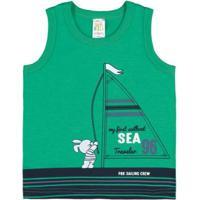 Camiseta Regata Infantil Pulla Bulla Meia Malha Masculino - Masculino-Verde