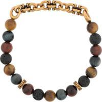 Salvatore Ferragamo Gancini Bead-Embellished Bracelet - Preto