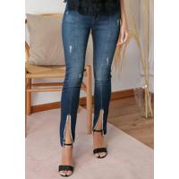 Calça Skinny Jeans Com Puídos E Fendas
