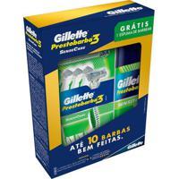 Kit Gillette Aparelho De Barbear Prestobarba 3 Sensecare 4 Unidades Grátis Espuma De Barbear 57Ml