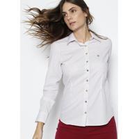 Camisa Em Algodão Egípcio Com Bordado - Branca & Vermelhdudalina