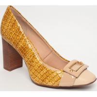 Sapato Tradicional Em Couro Com Aviamento - Amarelo Escujorge Bischoff