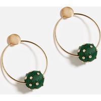 Brinco Circle Balls Verde/Ouro - U