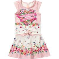 Conjunto De Blusa + Saia Floral- Rosa Claro & Brancomarisol