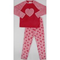 Pijama De Fleece Infantil Estampado De Corações Manga Longa Rosa
